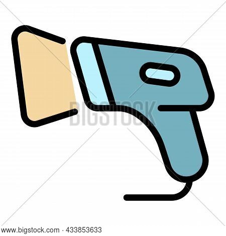 Warehouse Barcode Scanner Icon. Outline Warehouse Barcode Scanner Vector Icon Color Flat Isolated