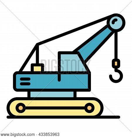Excavator Crane Icon. Outline Excavator Crane Vector Icon Color Flat Isolated