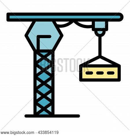 Lift Crane Icon. Outline Lift Crane Vector Icon Color Flat Isolated