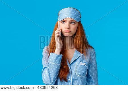 Sad Girl Calling Her Friend To Complain And Discuss Problems. Upset Gloomy Cute Sulking Redhead Woma