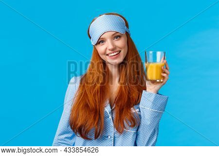 Daily Routine, Morning And Healthy Lifestyle Concept. Attractive Energized Redhead Female In Nightwe
