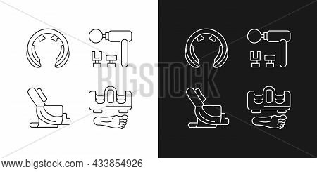 Vibrating Massagers Linear Icons Set For Dark And Light Mode. Massage Chair. Body Treatment And Recr