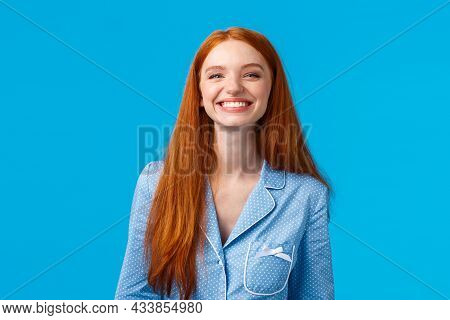 Cheerful Girl Enjoys Life, Feelings Happy And Upbeat, Looking Mirror At Night As Finish Hygiene Proc