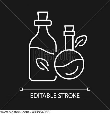 Massage Oil White Linear Icon For Dark Theme. Aromatherapy. Skincare Therapy. Beauty Treatment. Thin