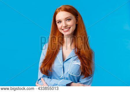 Cute Redhead Caucasian Girl In Blue Nightwear Prepare Sleep, Brushing Hair, Apply Night Cosmetics, S