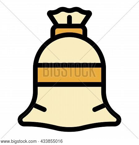 Textile Sack Icon. Outline Textile Sack Vector Icon Color Flat Isolated