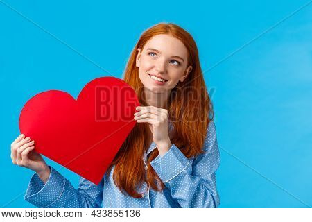 Dreamy Romantic Teenage Girl Thinking How Give Valentines Card To Lover, Smiling Lovely And Looking