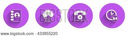Set Address Book, Speech Bubble Chat, Telephone 24 Hours Support And Clock Icon With Long Shadow. Ve