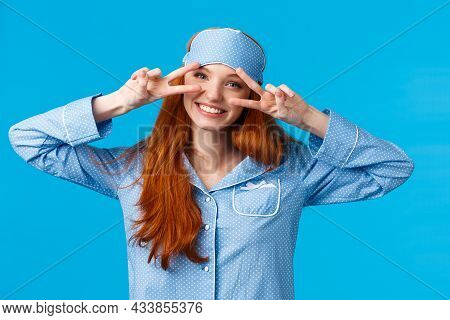 Energized Cheerful Girl Slept Well, Wake Up Morning Enthusiastic And Excited, Showing Peace Signs Fe