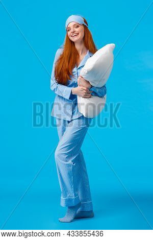 Full-length Vertical Studio Cheerful Lovely Caucasian Woman With Ginger Red Long Hair In Nightwear,