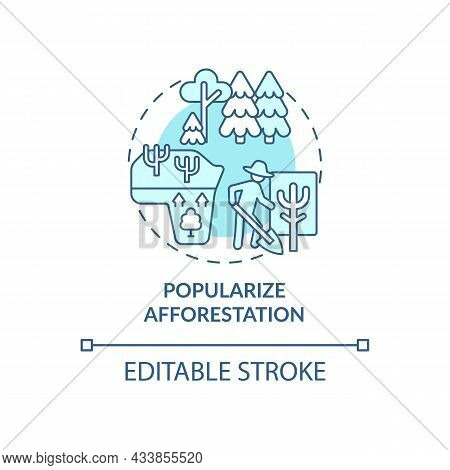 Popularize Afforestation Concept Icon. Common Initiative Abstract Idea Thin Line Illustration. Reduc