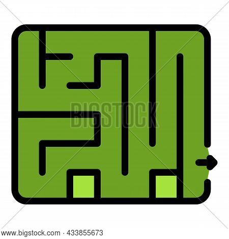 Quest Room Labyrint Icon. Outline Quest Room Labyrint Vector Icon Color Flat Isolated