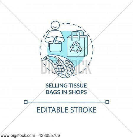 Selling Tissue Bags In Shops Concept Icon. City Solution Abstract Idea Thin Line Illustration. Decre