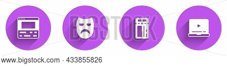 Set Video Recorder On Laptop, Drama Theatrical Mask, Cinema Ticket And Online Play Video Icon With L