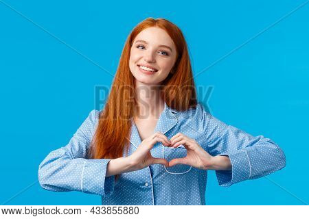 Relationship, Love And Tenderness Concept. Cute Sensual And Feminine Redhead Girl Long Hair, Wearing