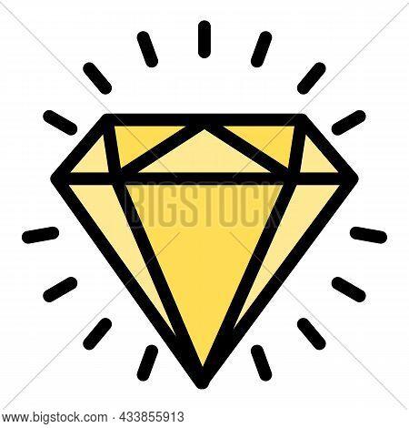 Shiny Diamond Icon. Outline Shiny Diamond Vector Icon Color Flat Isolated