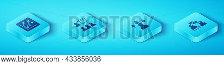 Set Isometric Financial Growth Increase, Training, Presentation, Two Sitting Men Talking And Front E