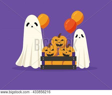 Halloween Ghosts With Full Of Pumpkins Box. Happy Halloween Concept. Vector Illustration Cartoon Fla