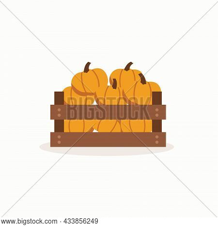 Wooden Box With Full Of Pumpkins On Isolated White Background. Vector Illustration Cartoon Style