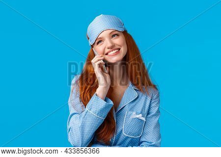 Charming, Lovely Girl Talking With Boyfriend Till Night, Cant Go Sleep Smiling Joyfully, Calling Fri