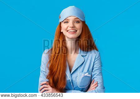 Assertive And Confident Good-looking Optimistic Redhead Girl Ready Go Bed, Wearing Sleep Mask And Cu