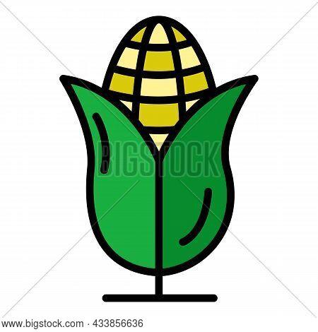 Farm Corn Icon. Outline Farm Corn Vector Icon Color Flat Isolated