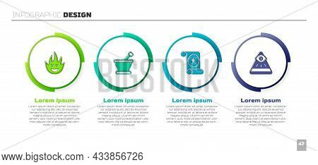 Set Fire Flame, Mortar And Pestle, Magic Scroll And Masons. Business Infographic Template. Vector