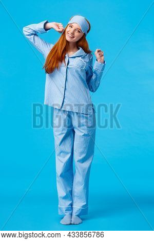 Full-length Vertical Shot Cute And Silly, Teenage Redhead Girl, Wearing Lovely Pyjama, Waking Up And