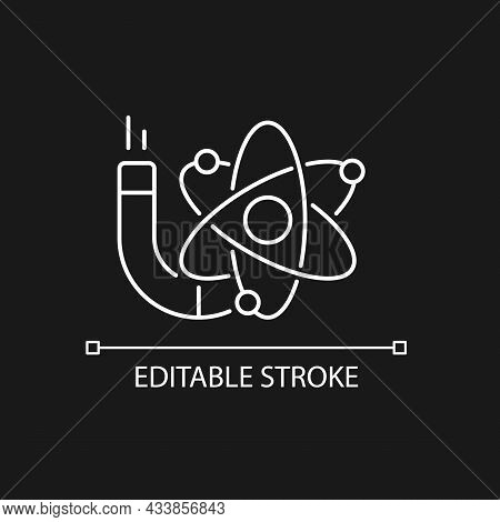 Physics White Linear Icon For Dark Theme. Image Of Atom, Electrons, Protons, Neutrons. Thin Line Cus