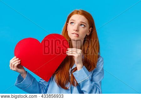 Shy And Indecisive Cute Girl Scared Confess Love, Tell How She Feels. Worried Cute Redhead Teenager