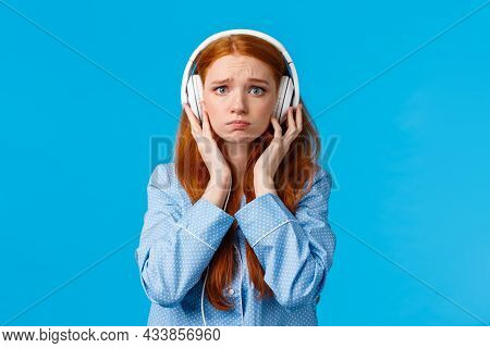 Girl About Cry From Emotional Song. Upset Redhead Girlfriend Suffering Breakup, Sobbing Listening Mu