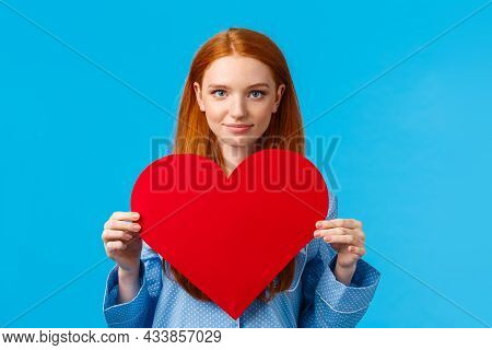 Showing My Affection. Valentines Day Concept. Confident And Bold Cute Redhead Woman In Nightwear Hol
