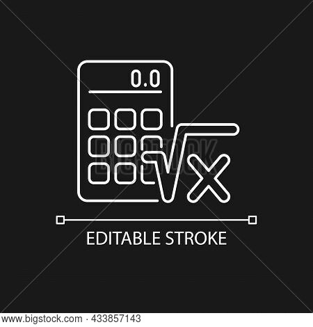 Algebra White Linear Icon For Dark Theme. Calculator, Radical Symbol. Mathematical Calculations. Thi