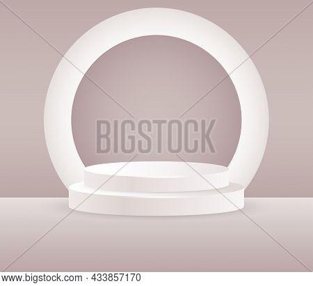 Round White Stage Podium Illuminated With Light. Stage Vector Backdrop. Festive Podium Scene For Awa