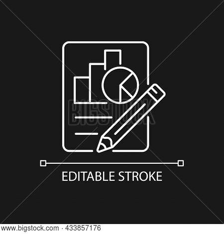 Economics White Linear Icon For Dark Theme. Graphs, Diagrams, Pencil. Plan, Report Preparation. Thin