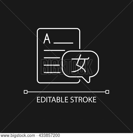 Foreign Languages White Linear Icon For Dark Theme. Text Translation, Interpretation. Thin Line Cust