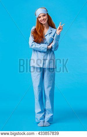 Cute And Tender Feminine Lovely Redhead Woman In Nightwear And Sleep Mask. Full Length Vertical Stud