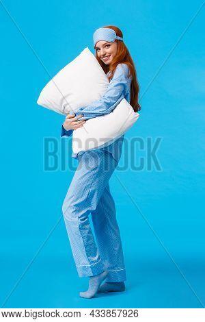 Tenderness, Comfort And Coziness Concept. Full-length Vertical Shot Tender And Feminine Lovely Redhe