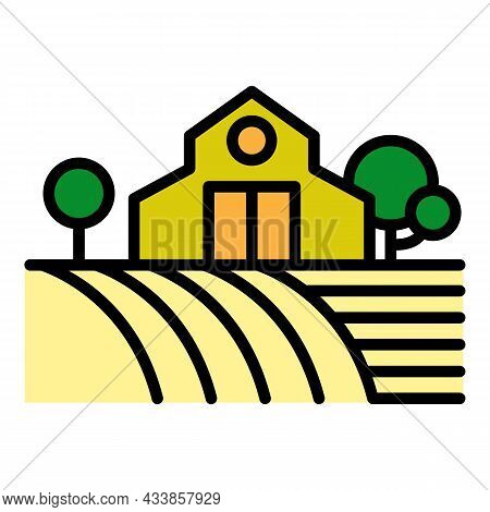 Farm Building On Field Icon. Outline Farm Building On Field Vector Icon Color Flat Isolated