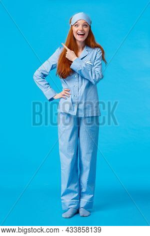 Vertical Full-length Portrait Excited And Thrilled Amused Redhead Woman In Sleeping Mask And Pyjama