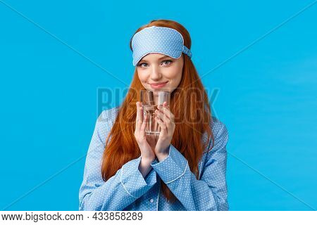 Silly And Flirty, Feminine Redhead Woman In Cute Nightwear And Sleep Mask, Looking Coquettish With P