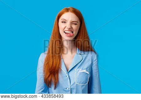 Carefree And Funny Pretty Redhead Teenage Girl Dont Want Sleep During Sleepover Girlfriends, Showing