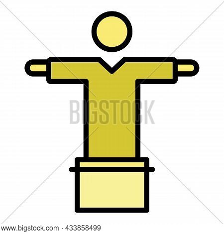 Rio Jesus Statue Icon. Outline Rio Jesus Statue Vector Icon Color Flat Isolated