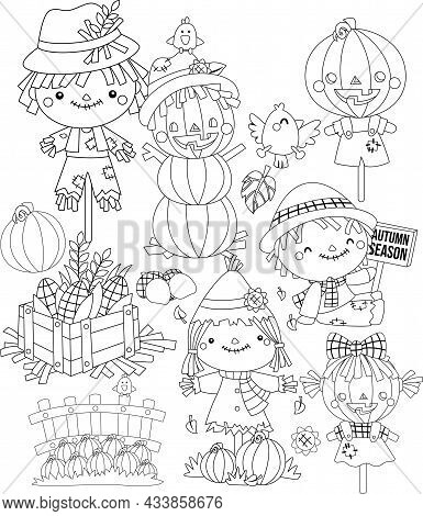 A Vector Of Scarecrow Themed Coloring Page