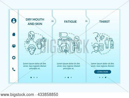 Dehydration Symptoms Blue Gradient Onboarding Vector Template. Responsive Mobile Website With Icons.