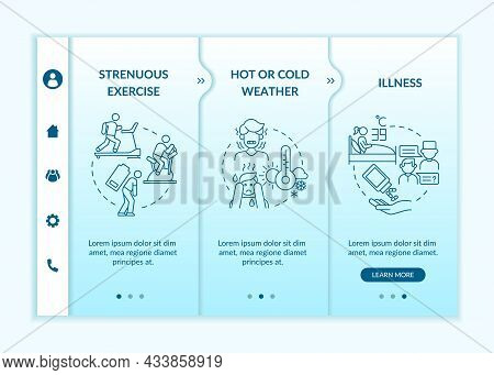 Increased Fluid Consumption Blue Gradient Onboarding Vector Template. Responsive Mobile Website With
