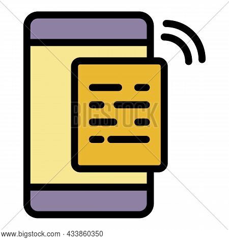 Voice Message On Smartphone Icon. Outline Voice Message On Smartphone Vector Icon Color Flat Isolate