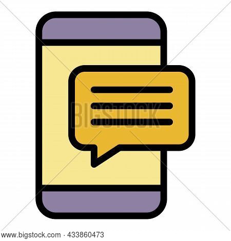Smartphone Popup Message Icon. Outline Smartphone Popup Message Vector Icon Color Flat Isolated