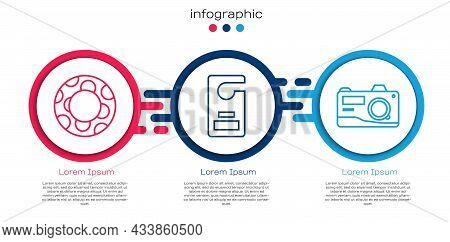 Set Line Rubber Swimming Ring, Please Do Not Disturb And Photo Camera. Business Infographic Template