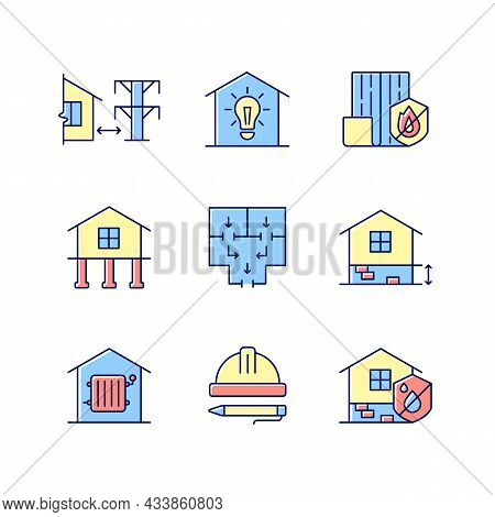 Building Safety Regulations Rgb Color Icons Set. Adequate Housing. Resistance To Fire. Electricity S